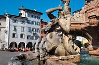 Italy, Trentino Alto Adige, Trento, Piazza Duomo Square, the Neptune Fountain