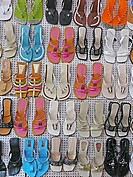 Ladies footwear on display outside a shop, Pune, Maharashtra, India