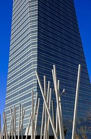 View from below of a sculpture and Crystal Tower, located in Cuatro Torres Business Area of Madrid, Comunidad de Madrid, Spain, Europe