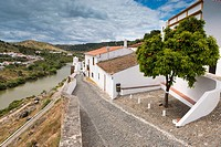 Mertola, view of city walls and River Guadian The Alentejo District Portugal Europe