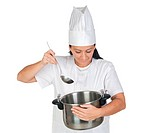 Pretty cook girl thinking with a pot and
