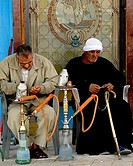 egyptian men with their shisha pipes, islamic cairo, cairo, egypt