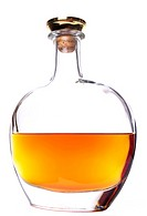 Cognac bottle without labels on the white background.