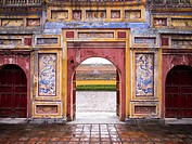 Archways within the Imperial Palace in Hue, Vietnam
