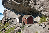 House under mountain ledge, Norway
