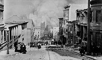 AFTER THE EARTH QUAKE, SAN FRANCISCO. Observers in chairs amid the debris on Sacramento Streetwatch the city burn. The fires, many caused by ruptured ...