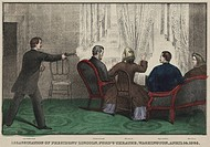 The Assassination of President Lincoln by John Wilkes Booth at Ford's Theatre, Washington, D. C., April 14th, 1865