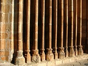 Detail of the church main front, monastery of Sant Cugat del Valles, Barcelona province, Catalonia, Spain