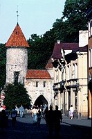 Estonia, Tallin, Viru gate,people walking in the street