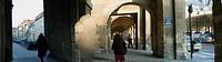 Paris, France, Public Parks, Place des Vosges Arcade, in Autumn, People Promenading, Panoramic VIew