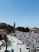 Jamaa al Fna market place in the Old Town of Marrakech, Morocco