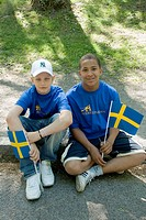 Two young men on national day, Stockholm