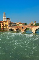 Verona  The Stone bridge  Ponte di petra  Adige river  Sant Giorgio in Braida church  Veneto  Italy  Europe.