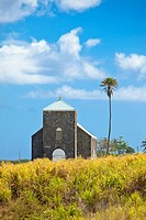 church in sugarcane field, st kitts, caribbean
