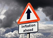Inflation ahead - UK road sign concept