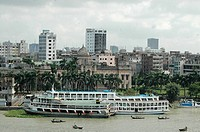 The historic Ahsan Manjil situated at Kumartoli on the bank of the Buriganga river, Dhaka, Bangladesh The palace had been used as the residential pala...
