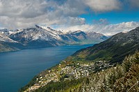 Panorama of Lake Wakatipu towards Walter Peak from the top of the Skyline, Queenstown, Otago, South Island, New Zealand