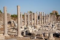 archaeological area, agora, side, anatolia, mediterranean coast, turkey, asia