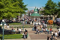 Paris, France, Theme Parks, People Visiting Disneyland Paris, General View, Overview, Crowd, Main Street, USA,