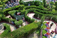 Paris, France, Theme Parks, People Visiting Disneyland Paris, Outdoor Maze Garden,