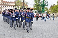 Changing of the guards, Hradcany Castle, Prague, Czech Republic, Central Europe