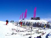 Switzerland, Graubunden, Engadina, Saint Moritz, ski slopes and restaurant
