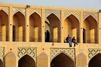 Iran, Isfahan, Khaju Bridge, Zayandeh River