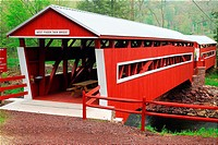 West Paden Twin Bridge, covered bridge, Huntington Creek, Columbia County, Pennsylvania, PA