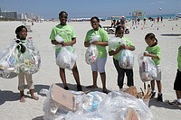 Florida, Miami Beach, Honey Shine Green Day, Black, girl, student, teen, volunteer, clean-up, collected trash, litter, pollution
