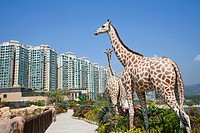 Asia, China, Hong Kong, Hongkong, Park Island, Noah´s Ark, Noahs Ark, Giraffe, Giraffes, Animal, Animals, Sculpture, Sculptures, Housing, Apartment, A...