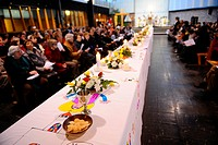 Maundy Thursday table in church, Paris, France, Europe