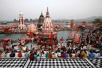 Har_ki_Pauri ghat in the evening during the Kumbh Mela, Haridwar, Uttarakhand, India, Asia