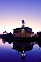 Italy, Lombardy, Abbiategrasso, the Naviglio at dusk
