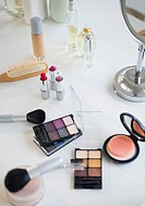 USA, New Jersey, Jersey City, make_up cosmetics on table