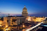 Capitolio Nacional illuminated at night, Central Havana, Cuba, West Indies, Caribbean, Central America