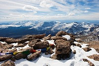 Summit of Longs Peak, a mountain above 14000 feet, known as a 14er, Rocky Mountain National Park, Colorado, United States of America, North America