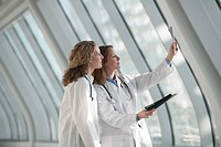 USA, Virginia, Virginia Beach, two doctors examining x_ray