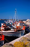 The fishing boat harbour at Laganas on the popular holiday island of Zakynthos