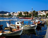 Fishing boats line the quay in Skopelos Town harbour