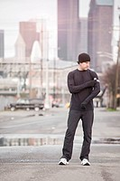 USA, Washington, Seattle, man in workout wear in street