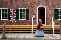 Woman dressed in period costume of 1860´s, Upper Canada Village, Morrisburg, Ontario, Canada