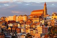 View over capital city at sunset, Antanarivo, Madagascar, Africa