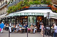 Cafe de Flore, Saint_Germain_des_Pres, Left Bank, Paris, France, Europe