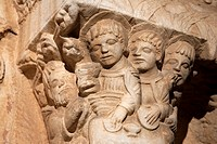 Detail of Cloister Sculpture of Tarragona Cathedral in Catalonia, Spain