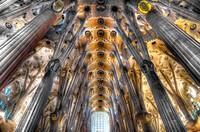 Main columns of Sagrada Familia by Gaudí, Barcelona. Catalonia, Spain
