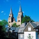 Germany, Hilchenbach, nature reserve Rothaargebirge, Siegerland, Sauerland, Westphalia, North Rhine-Westphalia, NRW, evangelic church, church towers