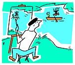 Artist on River