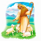Shepherd with Sheep in Color
