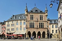 Market square and Denzelt, medieval palace of justice at Echternach, Grand Duchy of Luxembourg