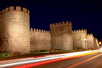 Walls of Avila tonight, Spain